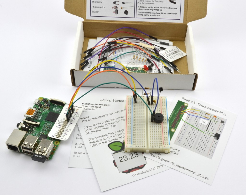 Electronics Starter Kit For Raspberry Pi Monk Makes Electronic Circuit Kits Schools Inside Box Web