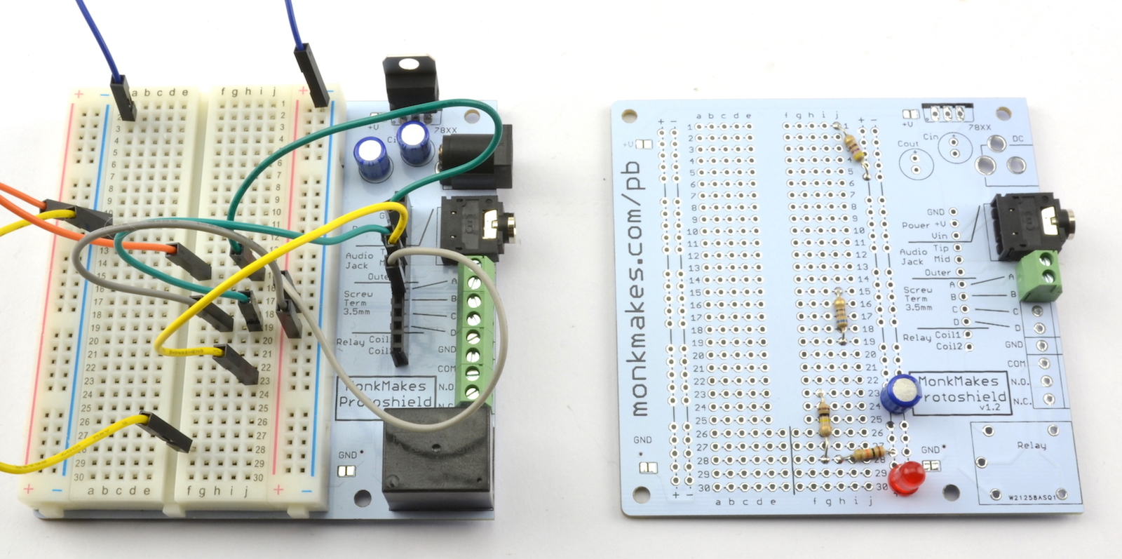 Monkmakes Protoboard Kit Monk Makes Wiring A Working Breadboard From Circuit Diagram Is Easy If You This Board Ideal For Use With Any Project That Could Start 400 Point Solderless So Means Pretty Much