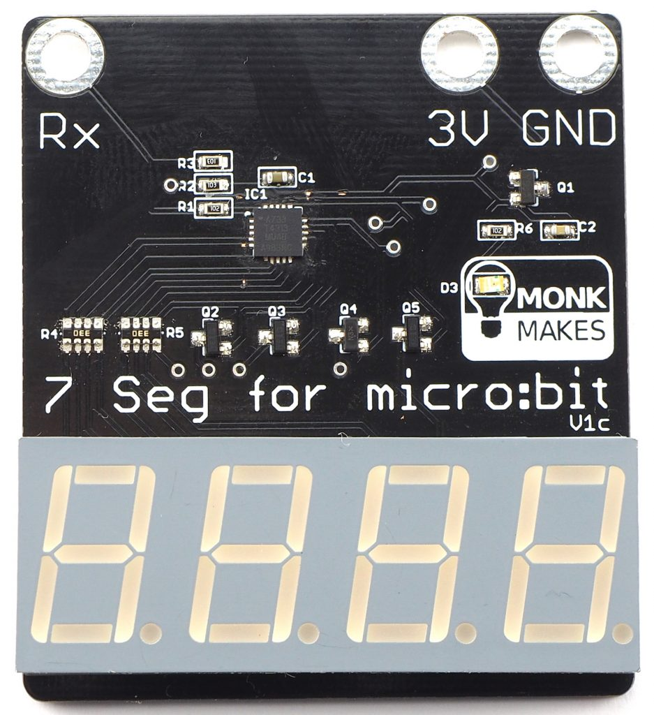 7 Segment For Microbit Monk Makes The Each Led Symbol Into 7segment Display It May Look Like This You Can Use To Numbers But Also Letters And Other Characters Albeit With Limits Imposed By Segments Of Digit